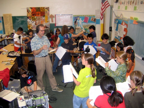 Tony Palermo conducting radio drama workshop with 4th graders